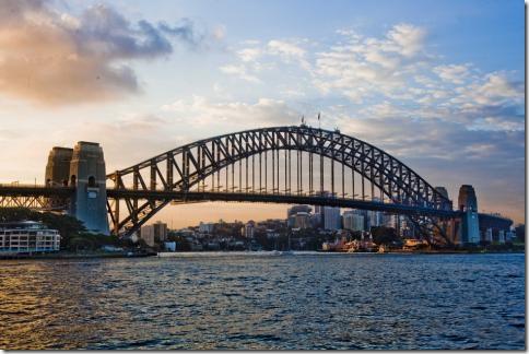 Мост Harbour в Сидней на закате