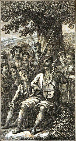Традиционный сербский инструмент, гусли. Герцеговин поет под гусли (картина 1823 года). Сербские эпические поэмы часто пелись под аккомпанемент этого традиционного струнного инструмента. Фото: wikipedia.org