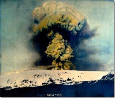 Извержение вулкана Катла в 1918 г. Фото: fi.wikipedia