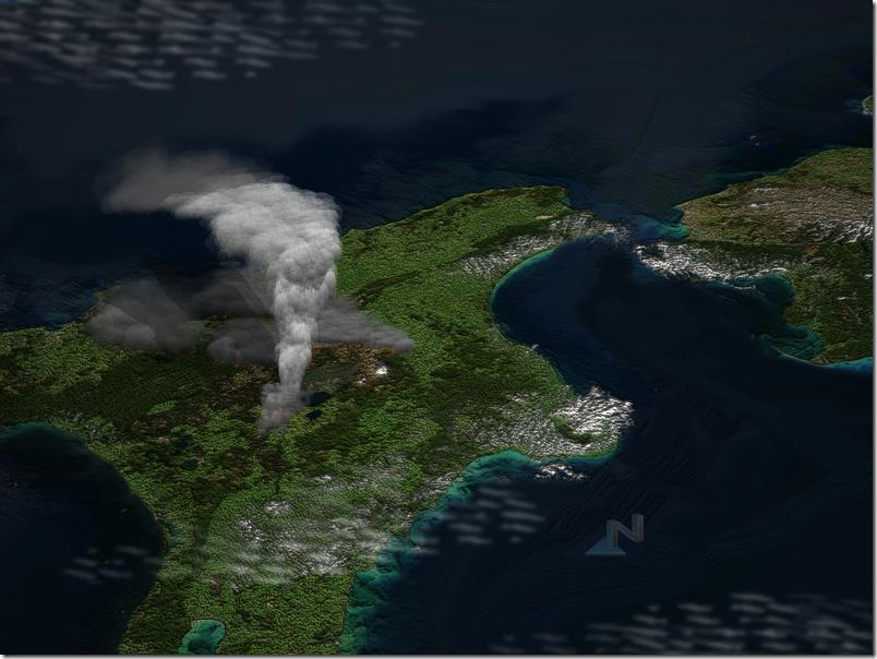 Изображение гигантской эруптивной колонны во время извержения. Фото: ru.wikipedia.org